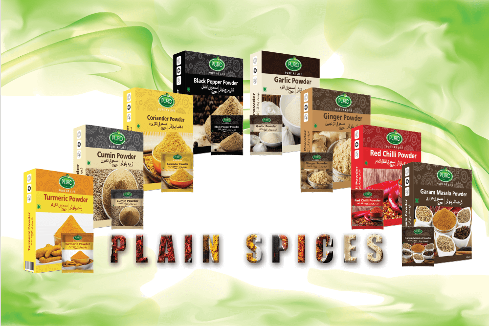 Plain Spice Range (Puro Black Pepper Powder, Puro Cumin Powder, Puro Coriander Powder, Puro Garam Masala, Puro Red Chili Powder, Puro Turmeric Powder, Puro Garlic Powder, Puro Ginger Powder), Healthy Salt Range (Puro Healthy Salt, Puro Table Salt, Healthy Iodized Salt, Unbleached Salt), Vinegar Range (Puro White Vinegar, Puro Apple Vinegar and Puro Mix Fruit Vinegar), Puro Food Mixed Ketchup Range, Puro Mayonnaise, Puro Mashroob-e-Shirin (Red Syrups) Refreshing Syrups (ice cream, Puro Anar Sharbat, Puro Malta Sharbat, Puro Sharbat-e-Sandal, Puro Falsa Sharbat, Puro Sharbat-e-Badam, Puro Sharbat Imli Aaloo Bokhara, Puro Sharbat Elaichi), Arq-e-Gulab (Rose Water), Ispaghol Husk, Honey, Green tea, Puro Oils (Almond oil, Mustard oil, Olive oil) Puro Wheat Porridge, Puro Shell Shaped Macaroni, Vermicelli, Puro Food Plain Spices Products Range